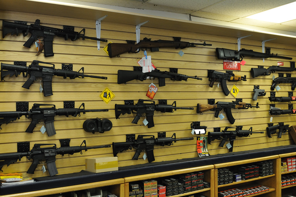 Wall of Guns in a store